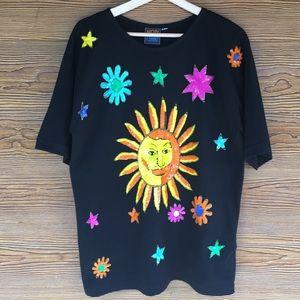 Black Vintage T Shirt | Sequin Sun Stars Appliqué